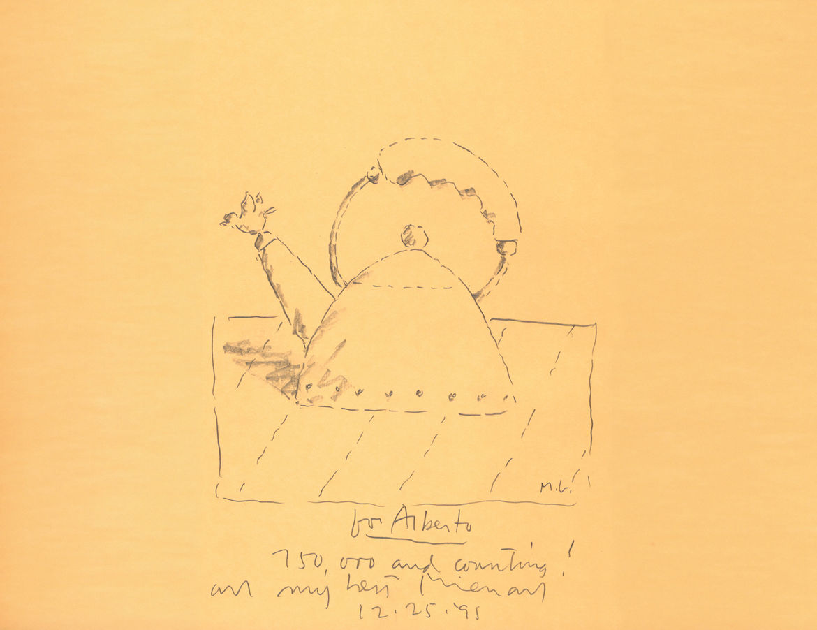 A holiday gift from Michael Graves to company head Alberto Alessi in 1995, this original sketch denotes 750,000 sales of the 9093 kettle.