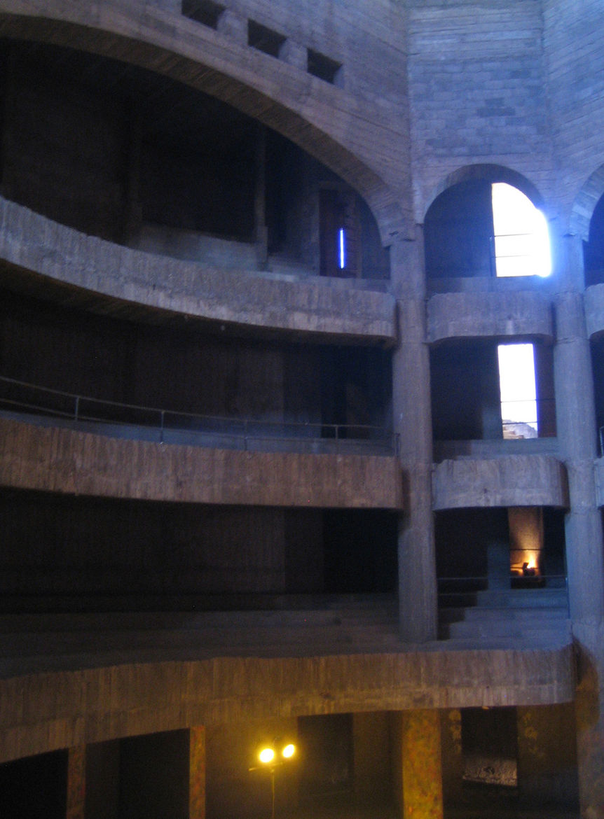 Here's a glimpse of what the raw interior of the theater looks like. I mentioned the exhibit and the unfinished theater to its architect Charles Boccara when I met him later that day. He changed the subject.