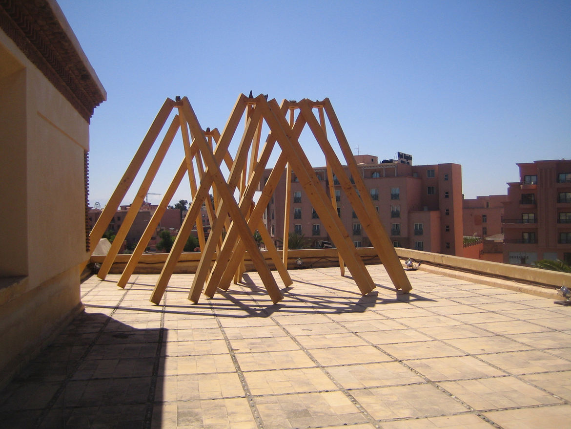 One pleasure of wandering around the space was how the curators used the rooftop as well. This timber construction walks the line between architecture and sculpture.