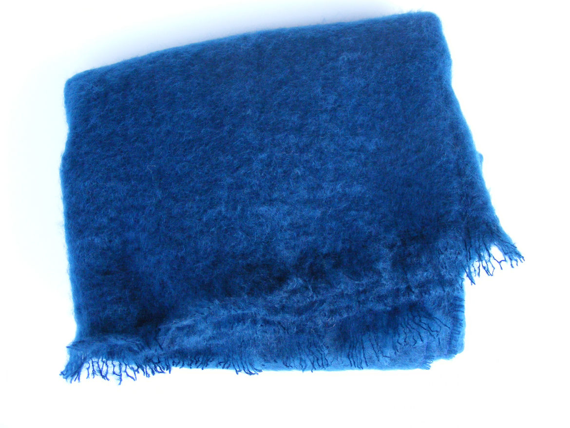 "Midnight Blue Mohair. ""This is from South Africa. It's the softest and lightest Mohair I have ever touched, and the blue is very deep but warm."""