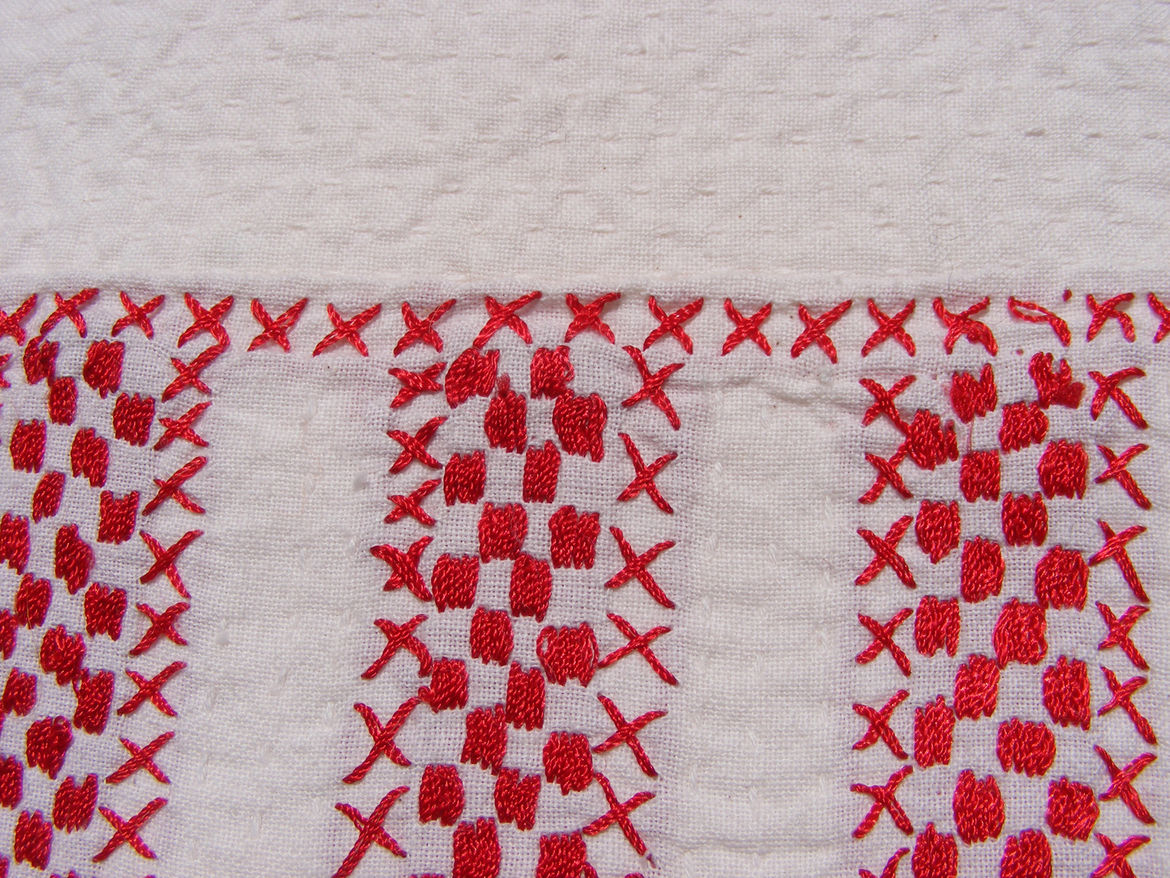 "Stripes. ""It's hard to imagine that this cotton bedspread from Bangladesh is actually handmade. One blanket takes 3 months to make, and if you look closely you see the tiny white stitches everywhere."""