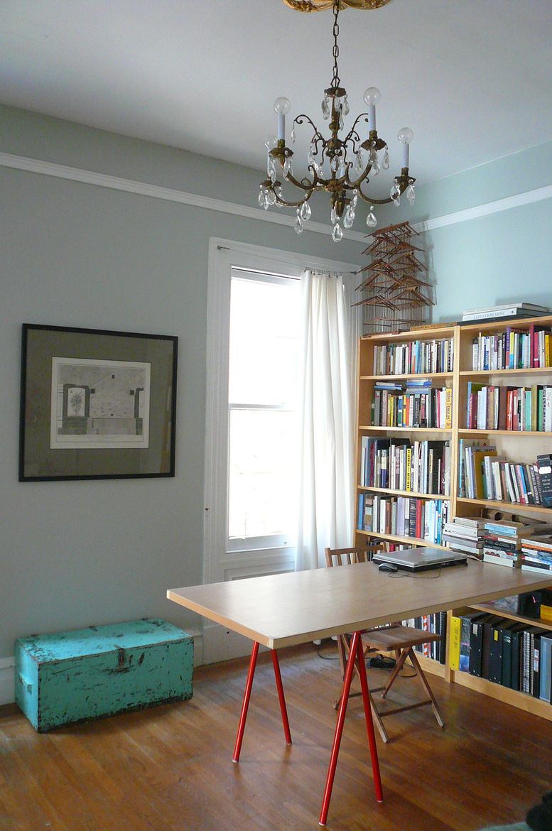 This is the room adjacent to the living room, separated by sliding pocket doors. We use it as a project room and library, but it's typically used in Edwardian layouts as a dining room... so that's what Caroline and Christopher turned it into in their plan