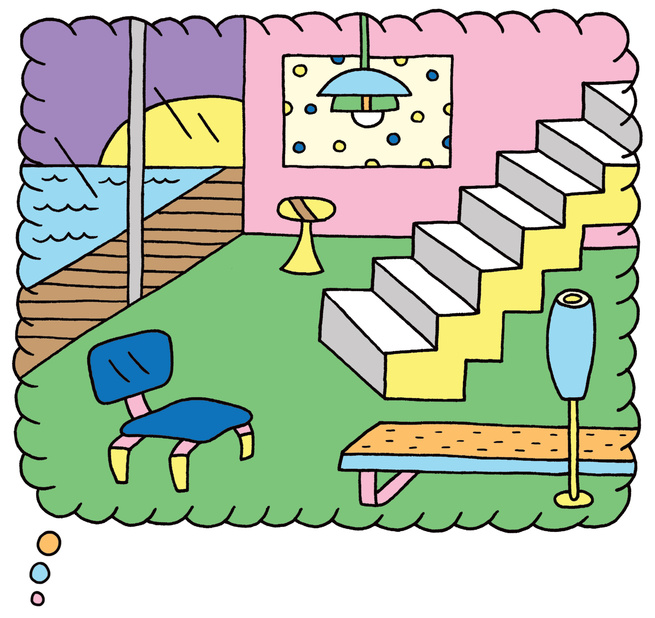 An illustration by Andy Rementer showing a living room and barrier-free pool.