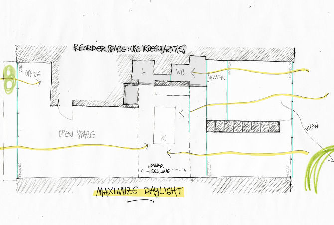 Here's a conceptual drawing of the apartment, showing the flow of light through the space.
