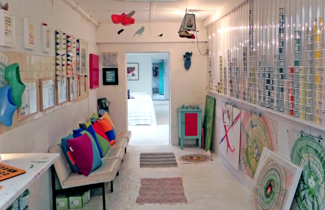 Simon March set up the Colour Makes People Happy Shop just over a year ago in Dulwich, southeast London. It took four years of restoration work to transform the space from a derelict wreck into a shop and studio space, which also doubles as his flat. The