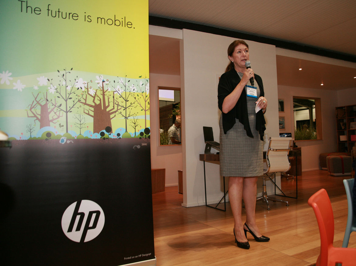 Dwell's president and CEO, Michela O'Connor Abrams, kicked things off at the HP Lounge with a few announcements.