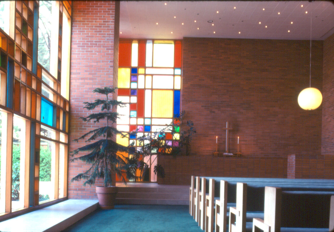 An interior view of the First Methodist Church in Midland, Michigan designed by Alden B. Dow.