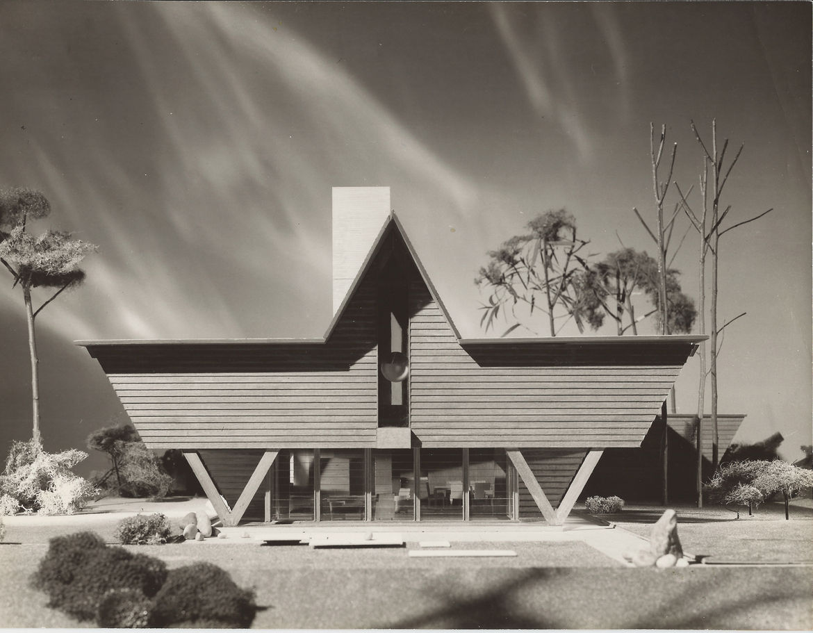 An exterior view of the W-Frame house, or Mills Summer Home, designed by Alden B. Dow.