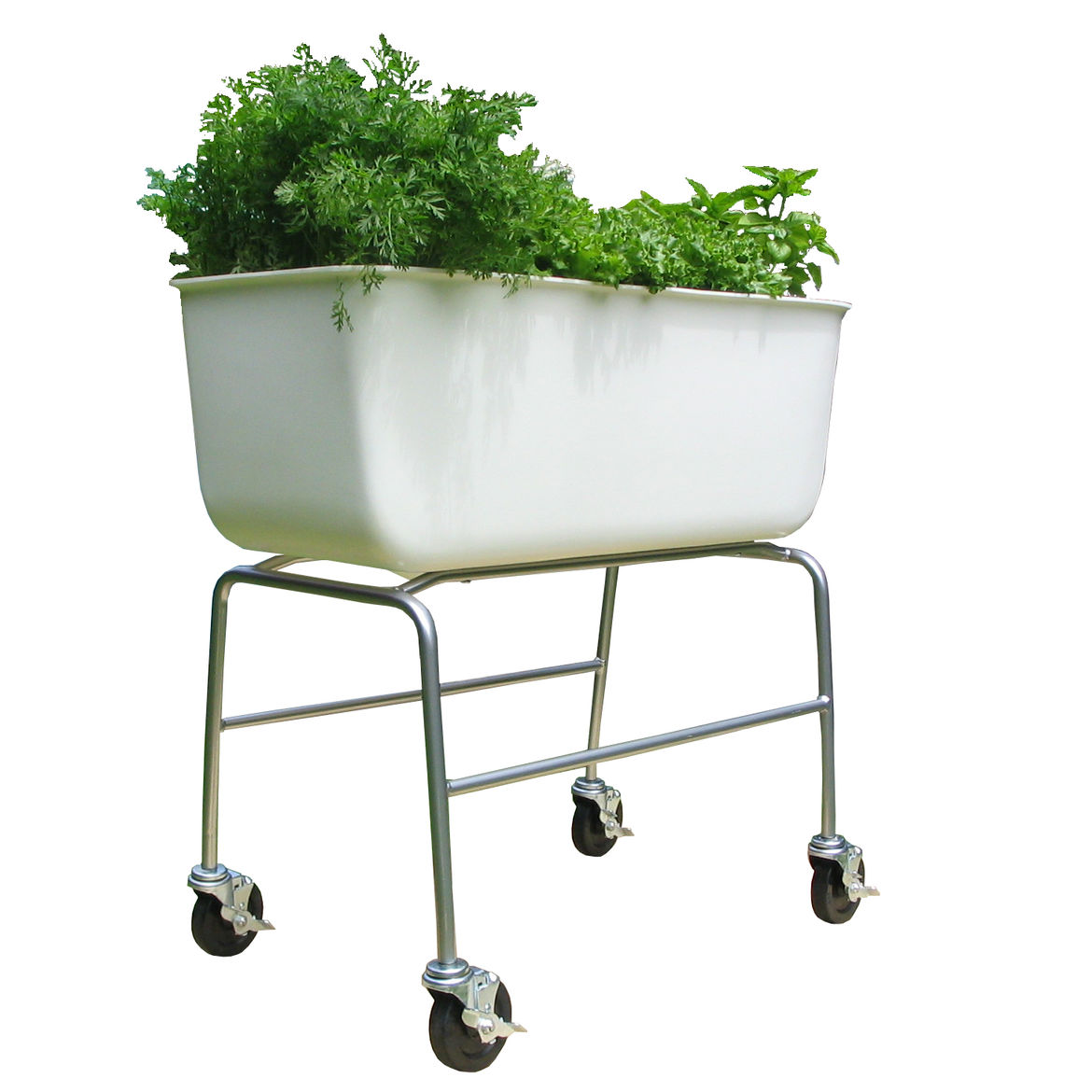 The Food Map Container may look like a bathtub but is the ideal planter. Its lightweight recycled-plastic basin features a contoured drainage system built into the bottom and it sits on a metal-tubing frame and locking rubber casters, which makes moving i