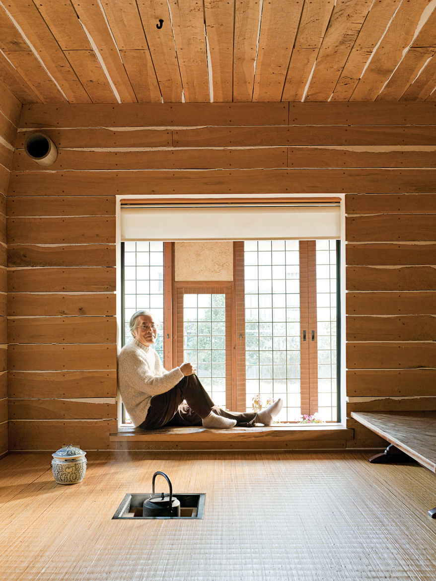 The Tanpopo House's family tearoom is an updated take on Japan's traditional flexible, open-plan tatami-mat room. Here, the charcoal fire pit for the teapot is an electric coil embedded in the floor, and the flooring is a durable rattan from Indonesia. Pl