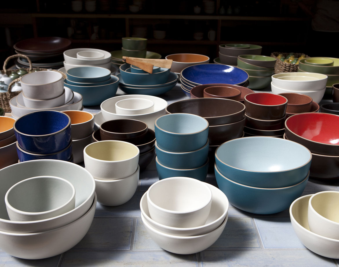 A multi-hued sea of serve bowls in the San Francisco Ferry Building shop.