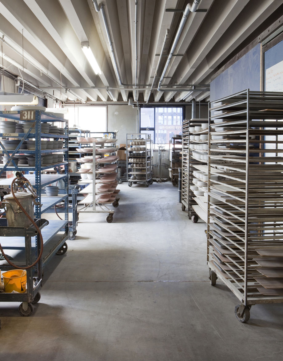 The Sausalito factory store has shelves full of tile samples, so visitors can check out the wide variety of glazing options available.