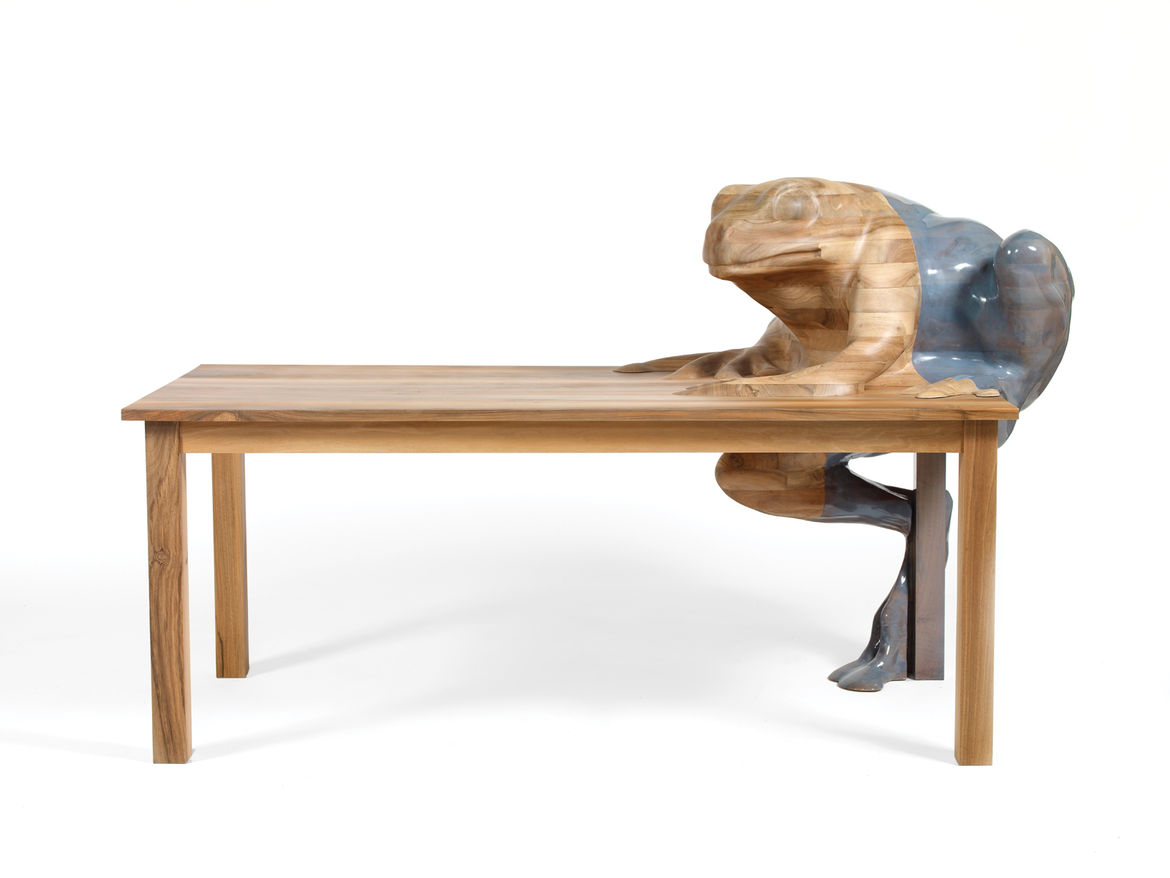 "<p><h2>2009</h2></p><p>Frog Table for Galerie Kreo. ""For me, decoration is a bridge between user and object. With Frog Table, I was trying to see how far I could take it."" —Hella Jongerius</p>"
