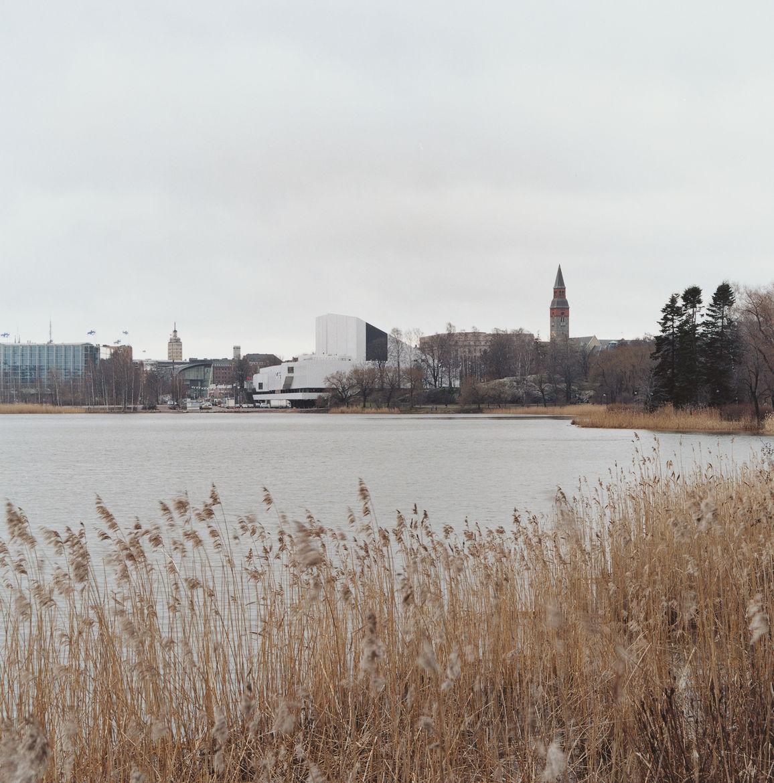 Alvar Aalto's Finlandia Hall sits on Töölönlahti Bay, an area popular with the public for its scenic walking trails.