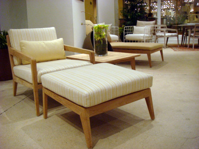 "The recently-released <a href=""http://www.brownjordan.com/products/collections.php?by=1&val=Drift"">Drift Collection</a> by Brown Jordan features plantation-grown teak frames that will weather with time. Shown here are the lounge chair and ottoman."