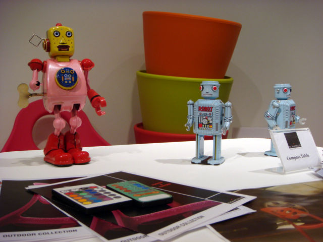 A trio of toy robots on display at DOMITALIA.