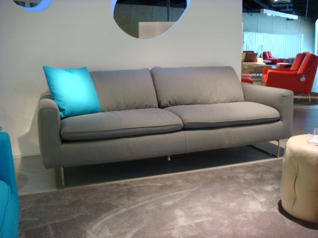 The color of the season? Grey (not Honeysuckle). From the contemporary brands to the more traditional, grey was ubiquitous. Shown here is Italsofa's Spades model.