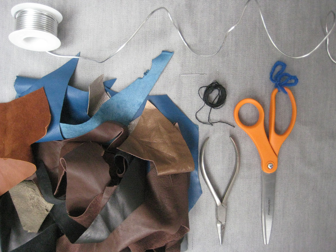 """<p>The supplies!</p><br /><br /><p>You'll need:</p><ul> <li>• <a href=""""http://www.dickblick.com/products/aluminum-wire/"""">Aluminum wire</a></li> <li>• Scraps of fabric. You should have enough for approximately 50 to 70 inches of one inch wide str"""