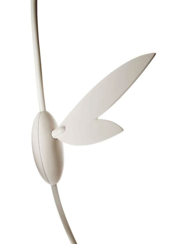 Like a whimsical clock winding key, Ikebana's dimmer switch is both decorative and functional.