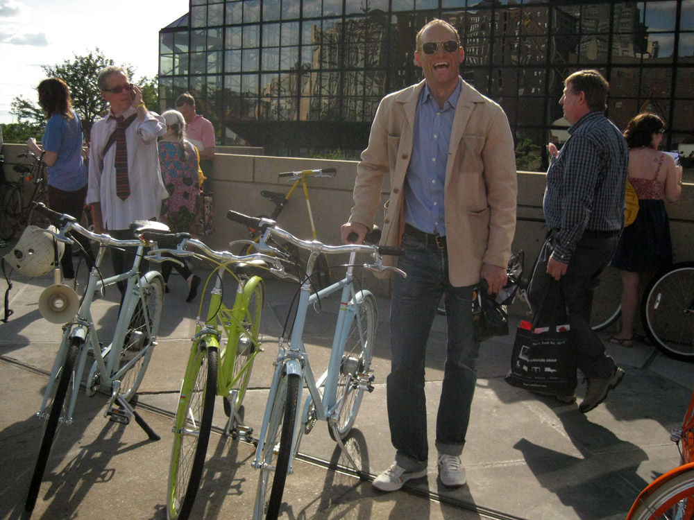 """Moroso's Ben Watson was one of the first Public customers. Here he takes delivery of a baby blue <a href=""""http://publicbikes.com/p/PUBLIC-D3"""">Public D</a>."""