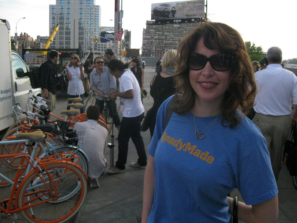 """My pal <a href=""""http://twitter.com/heatherwag"""">Heather Wagner</a>, a Dwell contributor and wife of Readymade editor-in-chief <a href=""""http://twitter.com/Wagsissticks"""">Andrew Wagner</a>, came along to pick her husband's bike."""