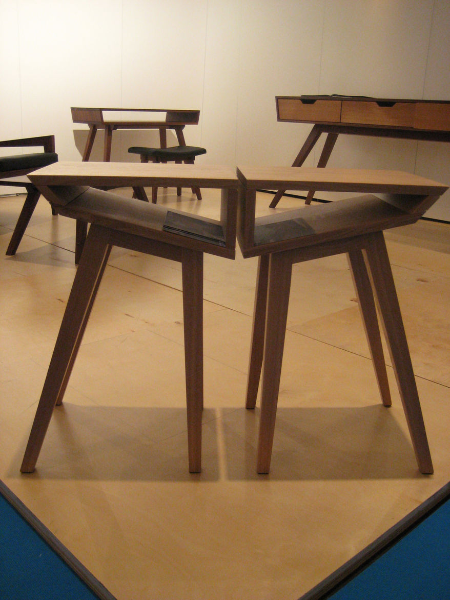 """""""I like the idea that one piece needs the other,"""" designer Kurt Dexel said of his Wedge side tables. HIs company, Dexel Crafted, is located in Vancouver but does custom pieces—using traditional woodworking techniques—for customers across the US"""