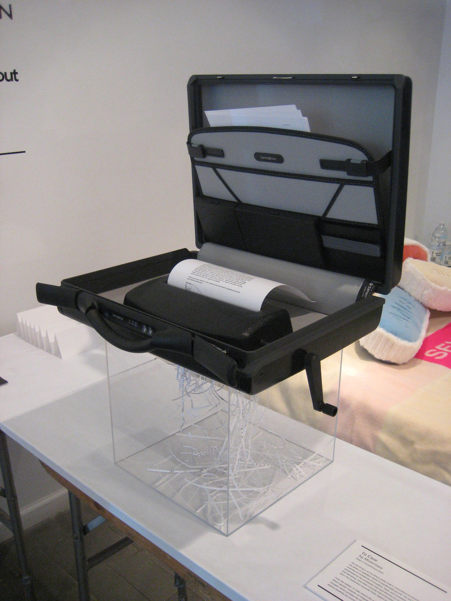 """In Case by <a href=""""http://materious.com"""">Materious</a>. A briefcase that conceals a paper shredder for the corrupt businessman."""