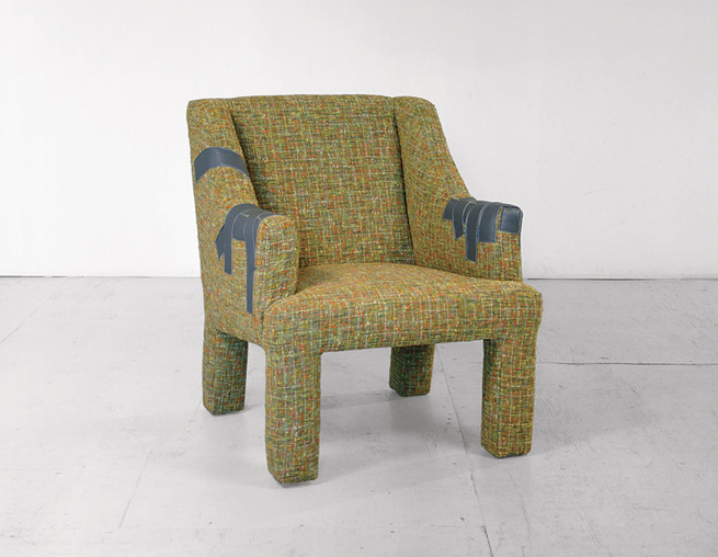 Miller's Duct Tape Lounge Chair is an homage to imperfection, loosely based on that sad lounger from college days, when furniture was found, bought, and repaired for little. Miller's chair, however, is structurally sound; the duct tape is upholstered leat