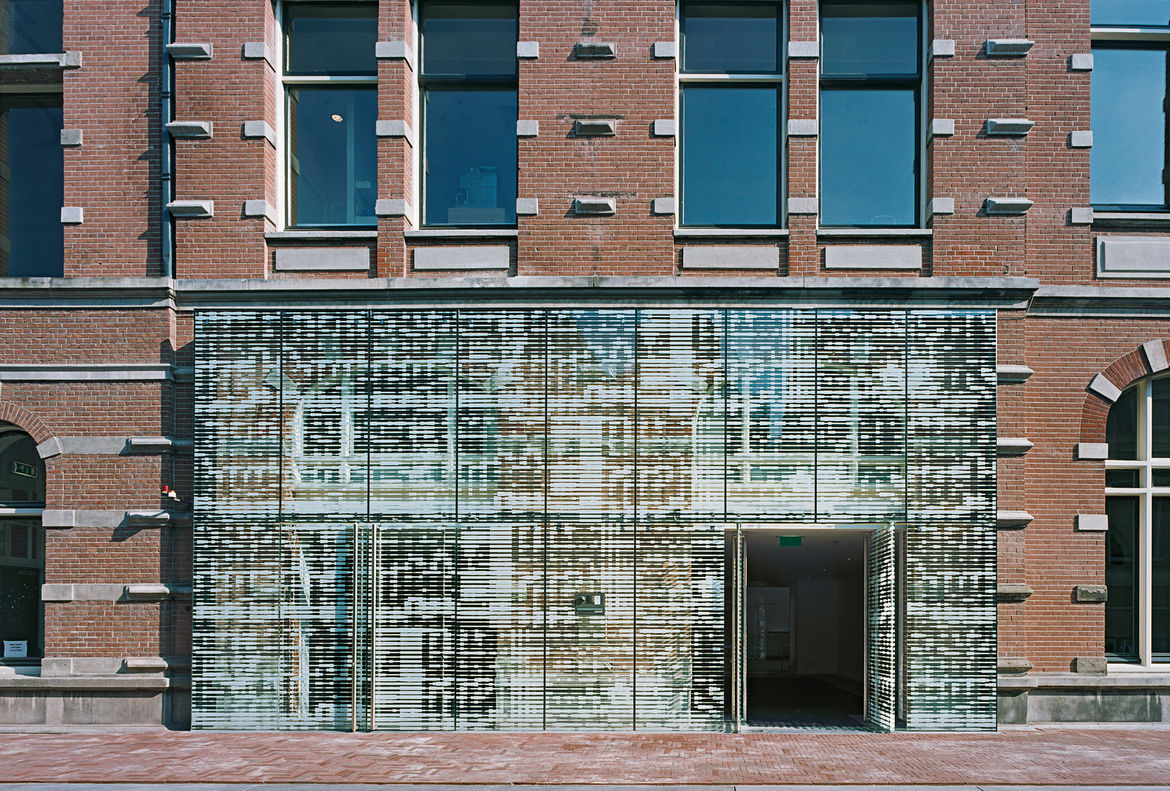 The Philharmonie in Haarlem, a collaboration with composer Louis Andriessen that resulted in the creation of a 18-panel sonogram across the building's facade.