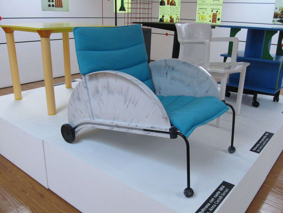 The intensely postmodern 4814 lounge chair with two wheels was among Anna Castelli Ferrieri's last designs for the brand.
