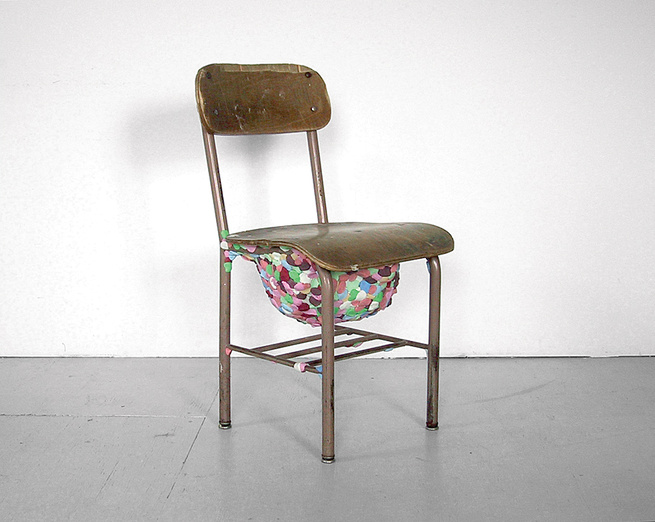 """For the exhibition """"Repair Shop,"""" ten designers were asked to repair a salvaged chair; Miller contributed this piece, entitled """"Kids Have No Respect""""."""
