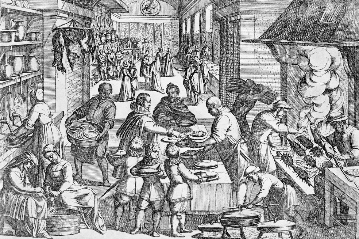 An engraving from 1675 by Justus Sadeler, showing the chaotic preparations in the kitchen before a feast.