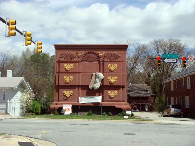 """And perhaps the most famous piece of """"furniture"""" in High Point, the world's largest chest of drawers (which happens to be for sale). <br /><br /><p><em><strong>Don't miss a word of Dwell! Download our </strong></em><a href=""""http://itunes.apple.com/us/app/"""
