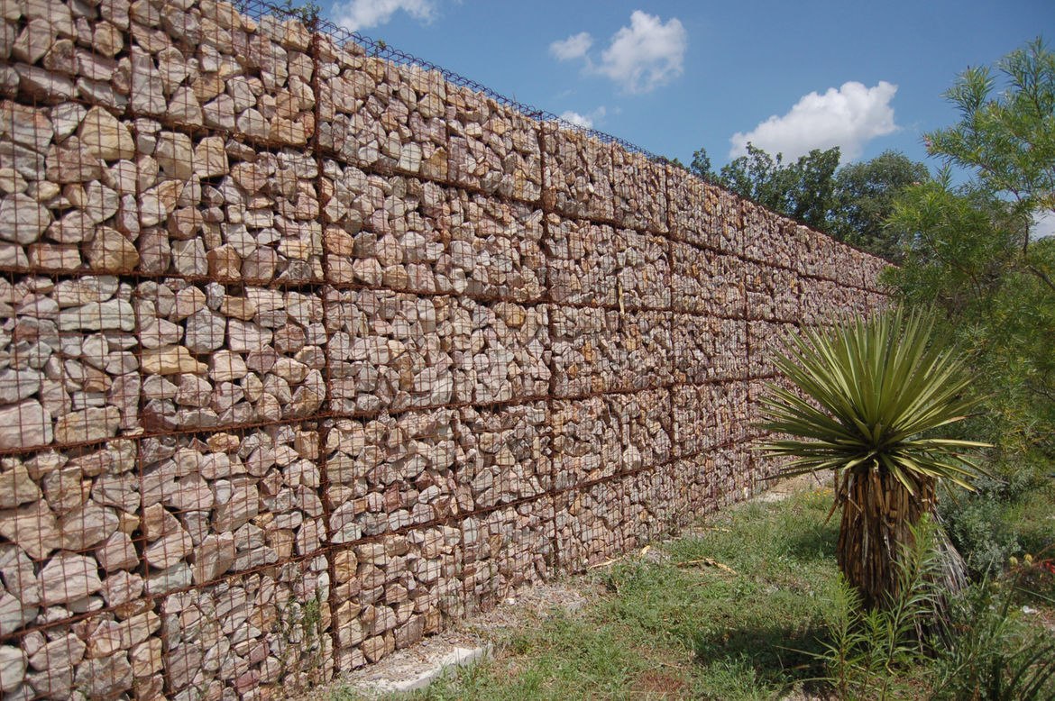 As we were driving around, I spotted this incredible gabion fence. Massive and perfectly arranged, the fence surrounded a privately owned community events space.