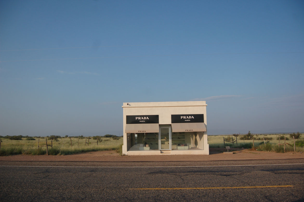 On my way out of town, I stopped along the side of an empty highway to shoot the Prada Marfa, a permanent installation created by Michael Elmgreen and Ingar Dragset in 2005. Standing alone in the middle of nowhere, the locked building holds actual Prada m