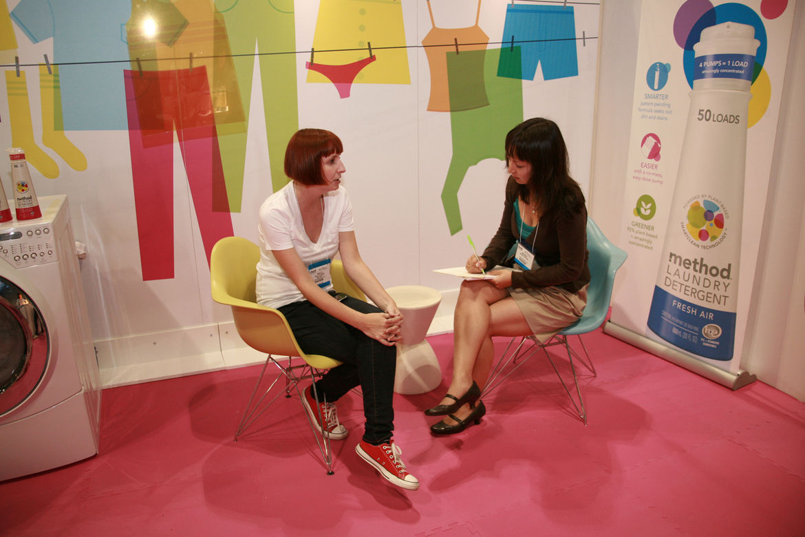 """Associate editor Miyoko Ohtake somehow managed to stop by the <a href=""""http://www.methodhome.com/"""">method</a> booth to chat with the company's design director, Sally Clarke. Read their interview <a href=""""http://www.dwell.com/articles/method.html"""">here</a>"""