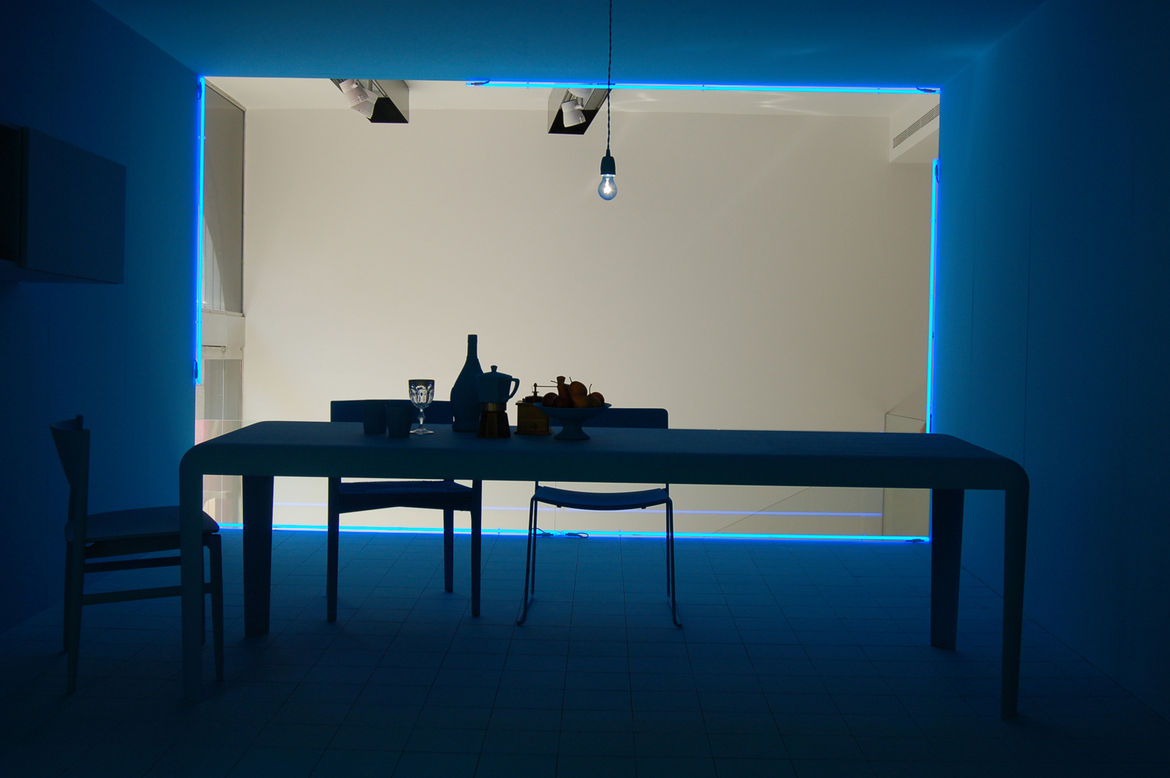 """Lissoni's blue room, installed at <a href=http://www.porro.com/ita/main1.php"""">Porro</a> on Via Durini, seemed appropriately melancholy."""