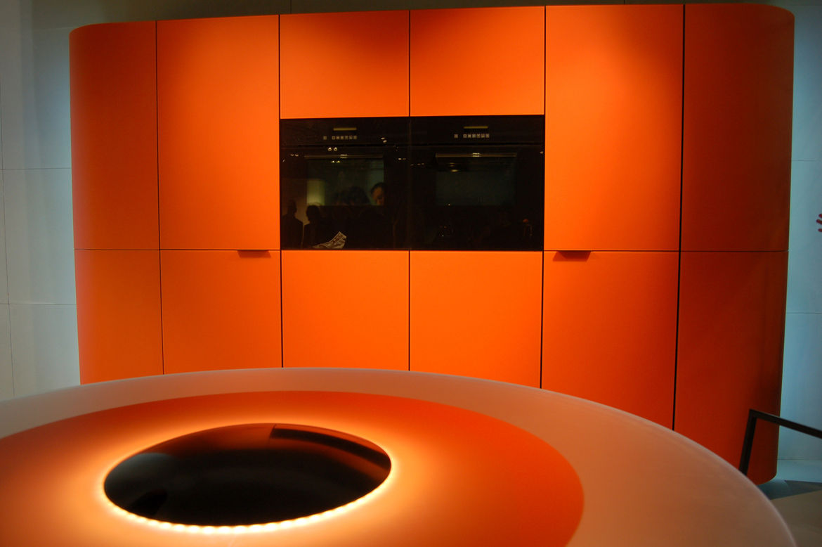 """Designer Roberto Pezzetta won a 2009 Good Design Award for this kitchen concept, entitled Argento Vivo, which he created for <a href=""""http://gedmagazine.com/"""">GeD Cucina</a>. The black oval at the center conceals a wine cooler, and when the top is removed"""