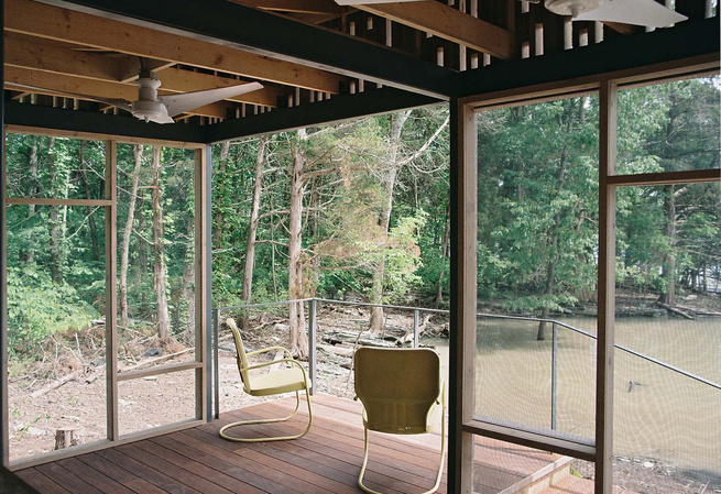 "Shelton's architect, Brandon Pace,designed and fabricated cedar panels backed with insect screens that snapped to the pavilion's steel structure, allowing assembly to be completed on site in just three days. <a href=""http://www.dwell.com/articles/not-so-s"