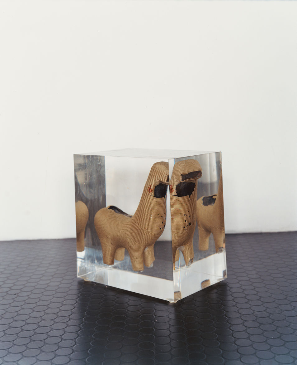 The early prototype for the B.M. Horse chair was made using the traditional lost wax casting technique and forever preserved in acrylic block.