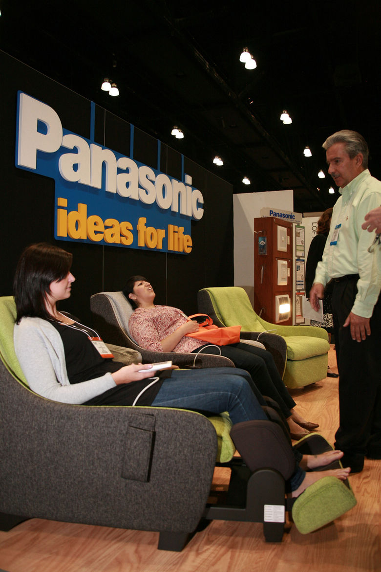 """Always welcome at any show floor is a phalanx of comfy seating. <a href=""""http://panasonic.com/"""">Panasonic</a> had the right idea. <b></b>Keep watching <a href=""""http://www.dwell.com.html"""">dwell.com</a> for more sights from the show floor, interviews with e"""
