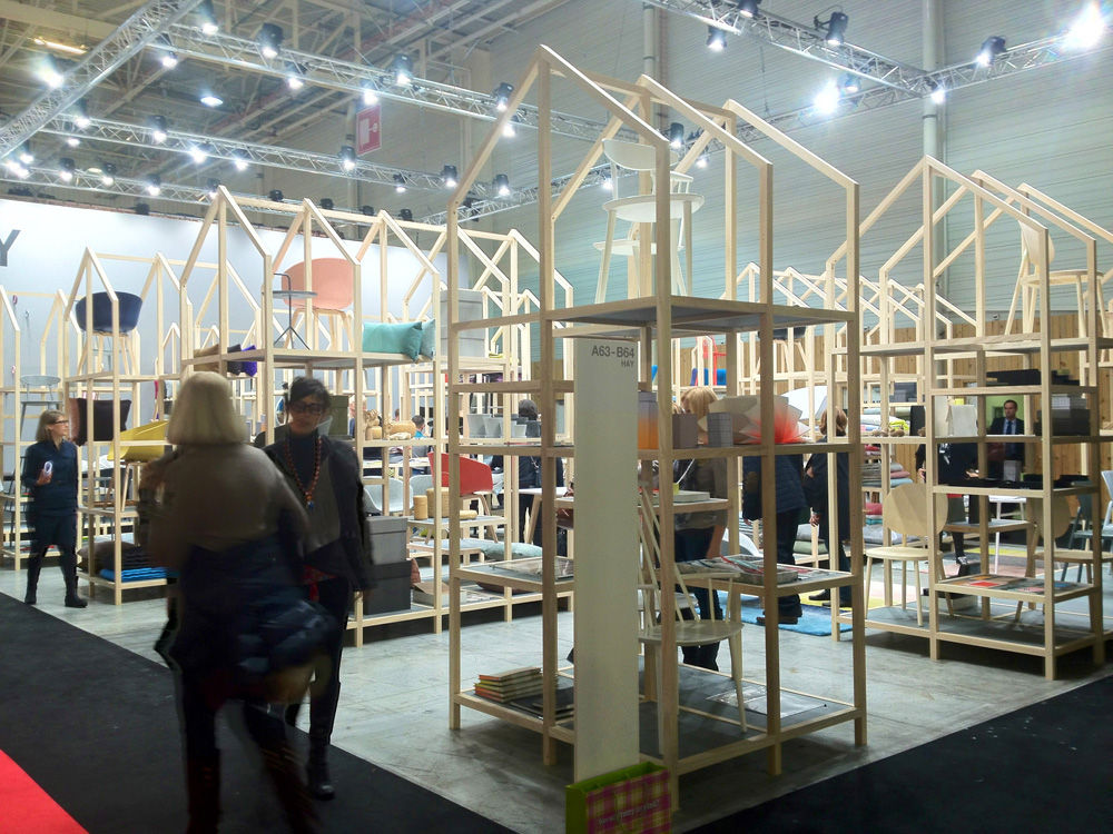 "Danish design company <a href=""http://www.dwell.com/articles/a-visit-to-hay-copenhagen.html"">HAY</a> takes the cake for Maison-booth-that-doubles-as-dream-wonderland. It was a smorgasbord of design, from everyday kitchen utensils to stationery to bedding"