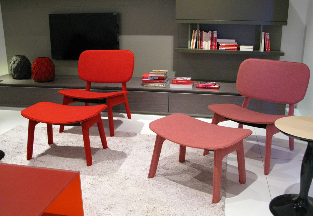 More felt upholstery, seen at the Ligne Roset booth on the felt chaises designed by Delo Lindo (also available in a dining chair version). Also enjoying a big moment at this year's Maison & Objet: the color pink!