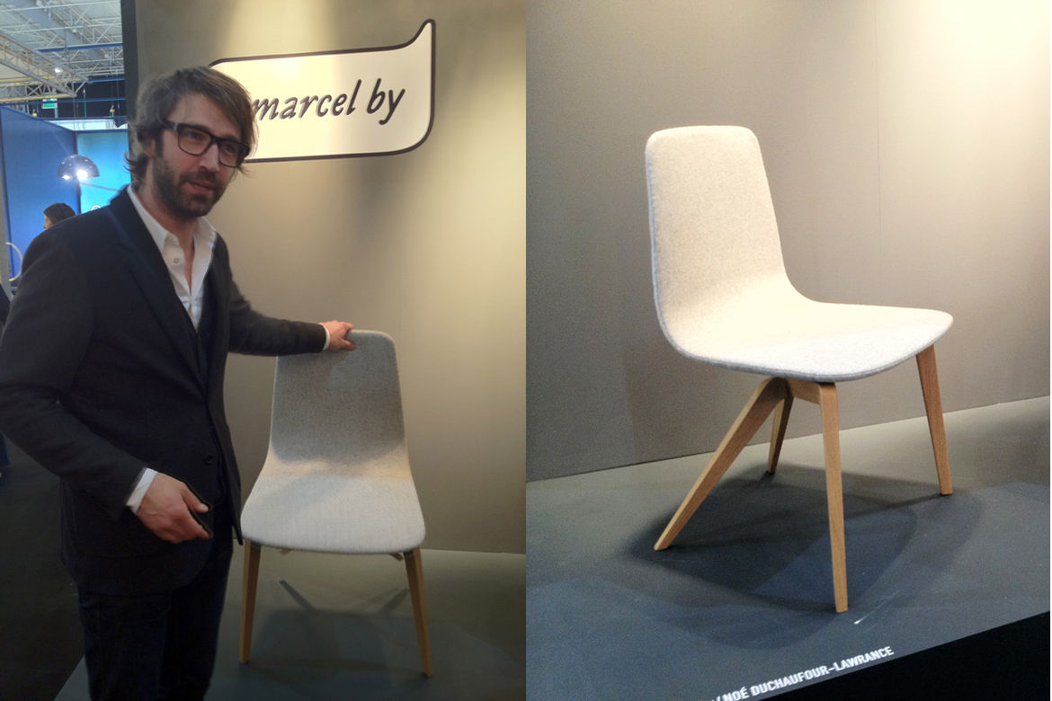 "<a href=""http://marcelby.fr/"">Marcel By</a> is a new company that issues limited editions by contemporary French designers. At left, Noé Duchaufour-Lawrance explaining his Bamby Chair for Marcel By. It's got felt (check), pale wood (check), and an innovat"