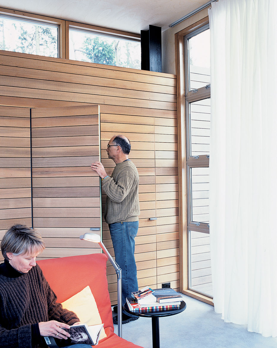 "In their search to find an alternative to drywall, the couple discovered this lightweight, nontoxic Italian poplar siding at a local lumberyard. ""The Seattle Opera uses it for stage sets, and the lumberyard carries a large amount of the product to outfit"