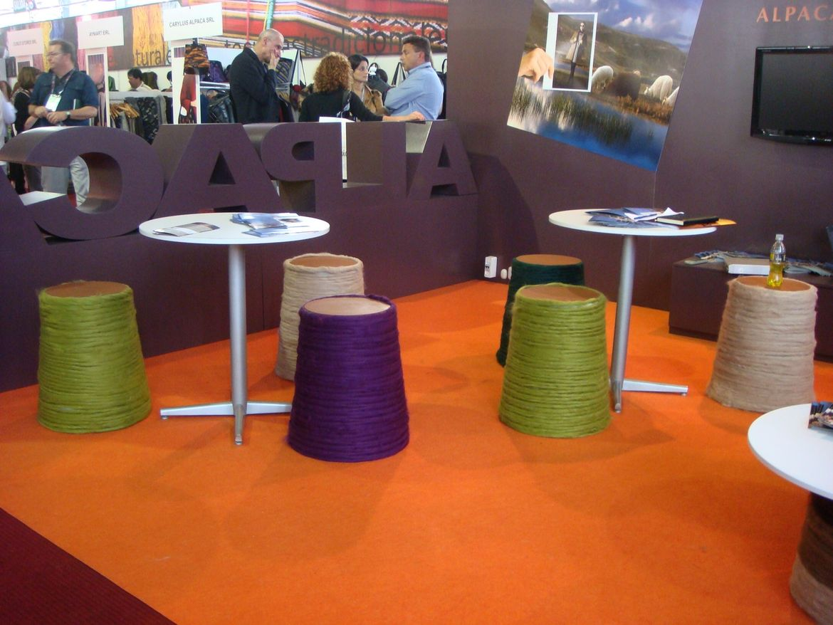 """A playful take on spools of wool (they're stools) in the section I've dubbed """"the homage to the alpaca."""" Stay tuned for more coverage from Peru!<br /><br /><p><em><strong>Don't miss a word of Dwell! Download our </strong></em><a href=""""http://itunes.apple."""