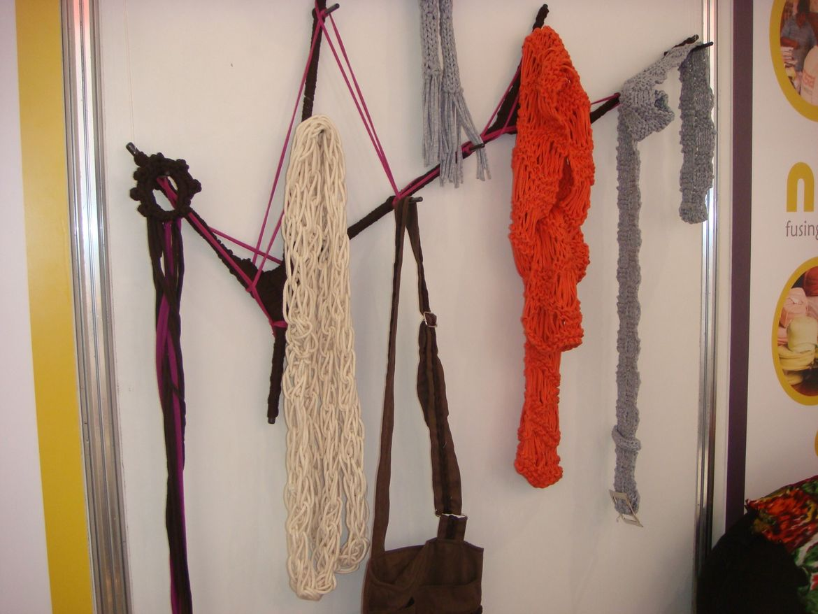 """Scarves by <a href=http://nunalab.com/"""">Nuna Lab</a> are made from materials leftover from Peru's clothing industry"""