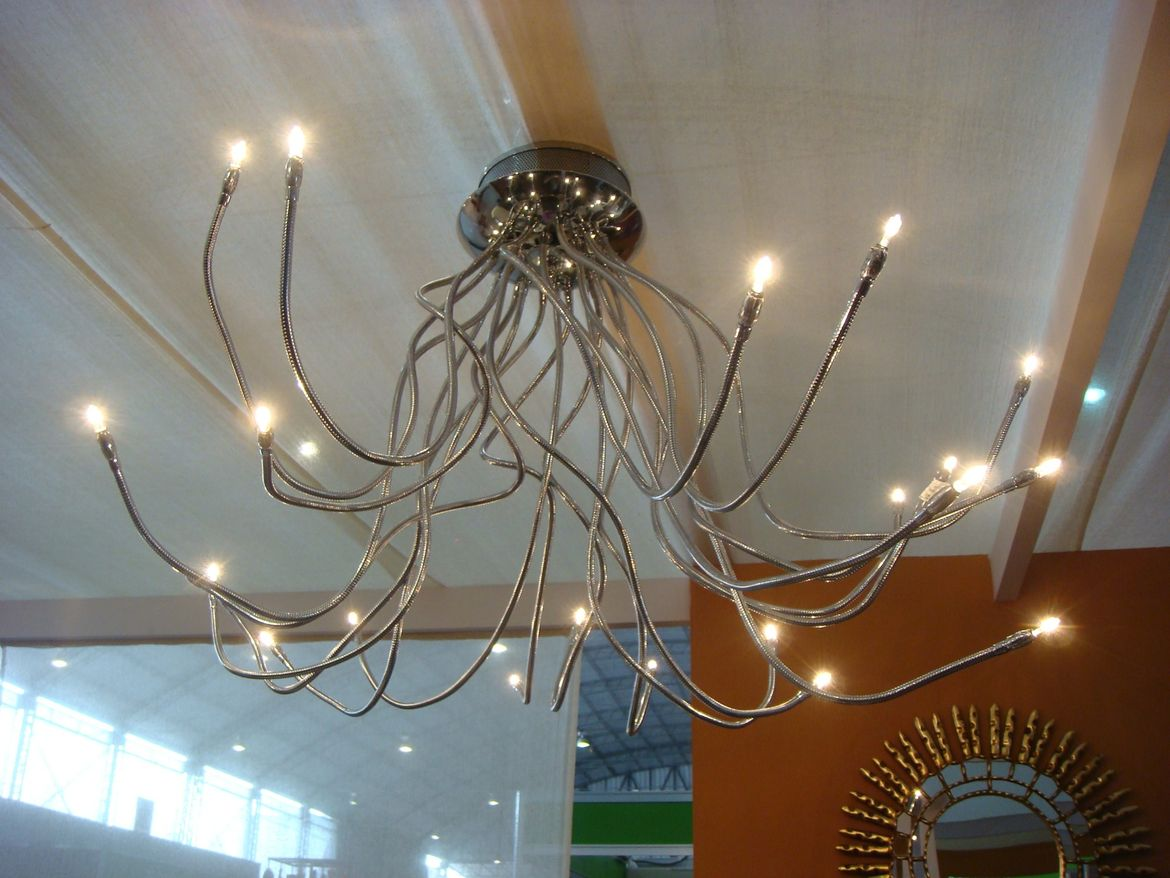 This anemone-like lamp in the show home features movable tendrils.