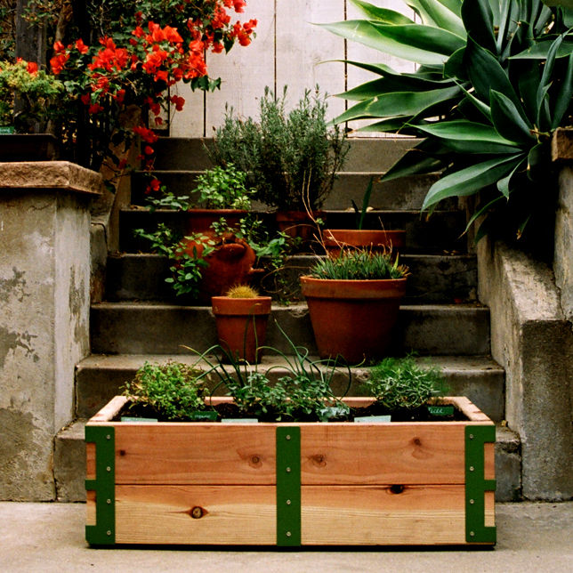 """<a href=""""http://www.reformschoolrules.com/pc/srpatiokit/lostandfound/Patio+Garden+Kit+by+Scout+Regalia"""">Patio Garden Kit by Scout Regalia</a><br />Our apartment dwelling neighbors finally have a design savvy solution to all of their gardening needs. Plus,"""