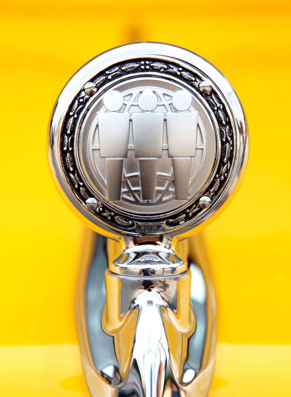 """A custom metal-work shop up in Cincinnati created a one-of-a-kind hood ornament featuring the Third Man logo."""